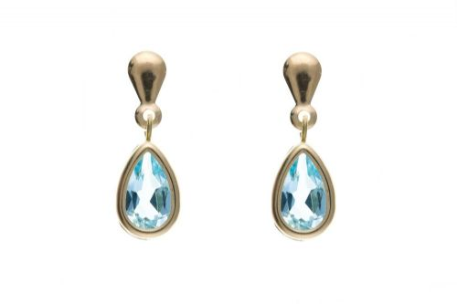 9 Carat Yellow Gold Blue Topaz Pear Drop Earrings AP6831